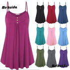 Womens Plain Sleeveless Ladies Cami Strap Vest Tank Top Blou