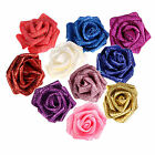 Внешний вид - 14 PCS Foam Rose Artificial Flower Glitter Heads Bridal Bouquet Wedding Decor