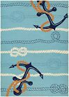 Seaside Anchor Bend Hand-Knotted Ocean Blue Indoor/Outdoor Area Rug