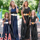 USA Mother Daughter Matching Clothes Striped Mom Kids Parent Long Dress Outfits