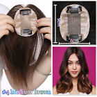Replacement System Remy Human Hair Topper Hairpiece Wiglet Silk Mono Base P599
