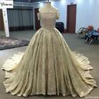 Custom Made Luxury Champagne Boat Neck Empire Short Sleeves Long Wedding Dress