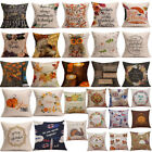 Happy Fall Thanksgiving Day Soft Linen Pillow Case Cushion Cover Home Decor Hot