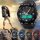 SKMEI Men Solar Power Sport Dual Time LED Digital Waterproof Analog Quartz Watch image