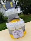 2 Tier Diaper Cake - Yellow and Gray Elephant Theme Diaper Cake - Neutral Baby