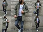 Wild & Young Fashion Men's Long Paker Khaki Street Clubstyle Rebel Army Jacket