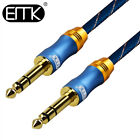 EMK 6.35mm 1/4in to 1/4in Audio Instrument Cable TRS Stereo Balance Guitar Cable