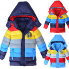 Внешний вид - Kids Boys Girls Hooded Thick Coat Padded Patchwok Winter Jacket Colorful Tops