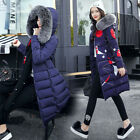 Women's Winter Down Cotton Warm Jacket Hooded Long Coat Fur