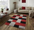 Red Black Silver Thick Shaggy Shag Pile Floor Rugs Living Room Hallway Carpets
