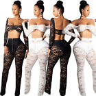 Women Sexy Club Lace Crop bra TOP  long sleeve+long Pant one set NO SHORTS 3528