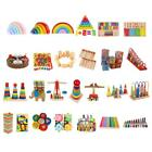 Montessori Teaching Wooden Blocks Stacking Math Counting Kids Educational Toys