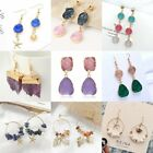 Women Geometric Natural Stone Crystal Drop Dangle Hook Stud Earrings Jewelry New
