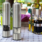 New 2pcs Mill Electric Pepper Grinder Spice Sauce Salt Stainless Steel W/ Light photo