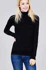 Women Long Sleeve  T-Shirt Slim Fit Turtle neck Pullover High Tops Casual-USA
