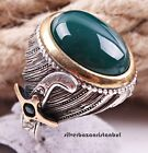 HEAVY Green Emerald Stone Turkish HANDMADE 925 Sterling Silver Men Ring ALL SIZE