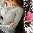 Sexy Button Knitted Jumper Blouse Women Long Sleeve Pullover Tops Fashion Tee