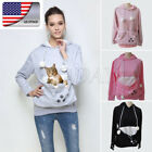 US   Pet Cat Holder Carrier Velvet Coat Pouch Big Pocket Hoodie