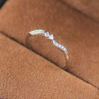 Rhinestone Crystal Willow Leaf Binary Finger Ring Alloy Engagement For Women 8C