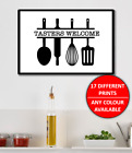 Kitchen Quote / Phrase Funny Wall Art Print Home Decor Poster Family Cooking