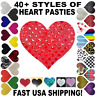 USA~1-5 Pair Heart Pasties Breast Nipple Covers Satin Rave Festival Bra Wear Lot