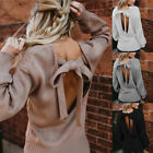 Women Backless Sweater Casual Long Sleeve Knitted Cable Jumper Chunky Tops New