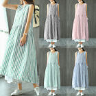 Women Casual Long Shirt Dress Oversize Tank Dress Summer V Neck Sundress Plus