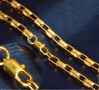18k Yellow Gold Womens Mens Wide Box Link Chain Necklace 8