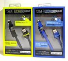 New TYLT DUO Lightning + Micro Usb USB Charge & Sync Cable Syncable Black & Blue