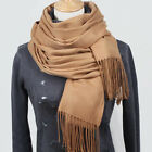 Womens Solid Winter Warm Cashmere Pashmina Scarf Neck Wrap Tassel Shawl Stole