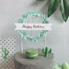 "Leaf Wreath ""Happy Birthday"" Cake Topper Dessert Decors Birthday Party Gifts YXJ"