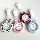 Fashion Ethnic Flower Silicone Nurse Watch Brooch Fob Quartz Pocket Round Dial