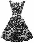 New Rosa Rosa  1940's 50's style Black White Floral Rockabilly Party Prom Dress