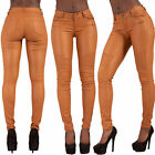 WOMEN LEATHER LOOK LEGGINGS CAMEL WET TROUSERS SEXY JEANS SIZE 6 8 10 12 14