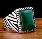 Emerald Stone Turkish Jewelry Handmade 925 Sterling Silver Mens Ring ALL SIZE US