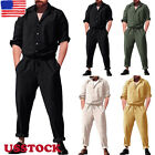 Mens Short Sleeve Rompers Playsuit Jumpsuit Overalls One Piece Workwear Pants