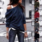 Womens Sexy Off Shoulder Blouse Warm Tops Casual Loose Crew Neck Pullover Tops