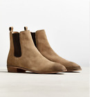 UO Tan Genuine Soft Suede Leather Dress Chelsea Boots w Pull Tab New