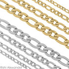 Stainless Steel Figaro Link Chain Necklace Boys Mens Sizes in Silver or Gold