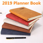 2019 Planner Book Leather Cover Journal Medium A5 Scheduler Diary Plan Notebook