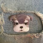 1 PIC 4.3*3.5CM Embroidered cloth computer chapter boutique DIY Schnauzer DOG