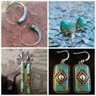Charm Vintage 925 Silver Jewelry Turquoise Hook Earrings Dangle Ear Stud