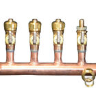 "11/4"" Copper Manifold 1/2"" Compresson Pex-AL-Pex (W & W/O Ball Valves) 2-12 Loop"