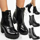 Womens Chunky Low Block Heel Ankle Boots Zip Up Black Casual School Work Size UK