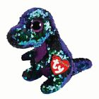 Ty Flippables Crunch Dinosaur Beanie Reversible Sequin Limited Edition Plush Toy