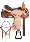 Barrel Racing Saddle 14 15 16 17 Two Tone Leather Western Trail Show Horse Tack