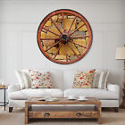 East Urban Home Designart Old Wooden Country Wheel Rustic Wall Clock