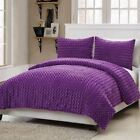 Twin Full Size Bed Solid Purple Faux Fur Soft Plush 3 pc Comforter Set Bedding image