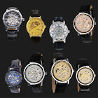 New Mens Sports Transparent Steampunk Skeleton Mechanical Stainless Steel Watch image
