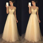 Women Formal Wedding Bridesmaid Sleeveless Long Evening Party Ball Prom Dress US <br/> ❤US STOCK❤HIGH QUALITY❤FAST SHIPPING❤EASY RETURN❤